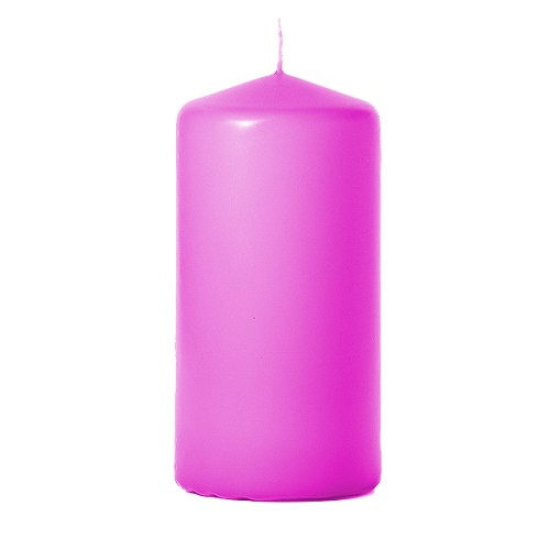 3x6 Unscented Hot Pink Pillar Candle
