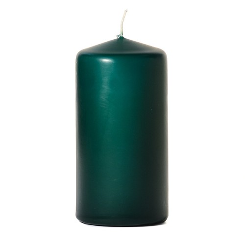 3x6 Unscented Hunter Green Pillar Candle