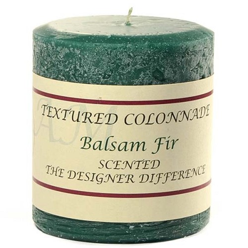3x3 Scented Balsam Fir Scented Rustic Pillar Candle