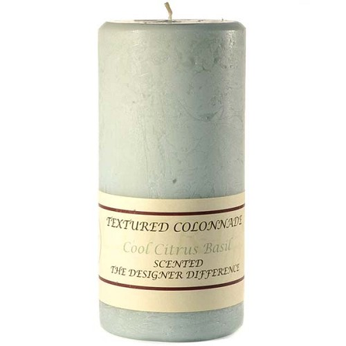 4x9 Scented Cool Citrus Basil Rustic Pillar Candle