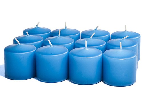 15 hour Unscented Colonial Blue Votive Candles 12 pk